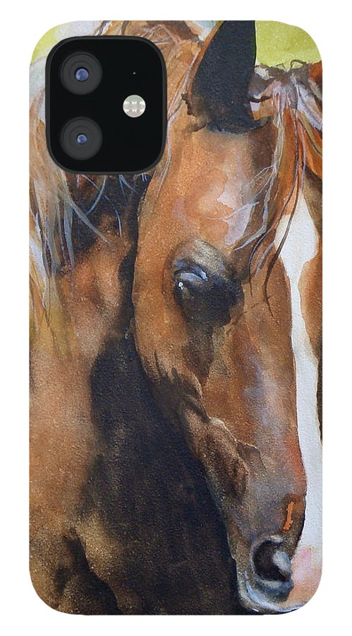 Horse IPhone 12 Case featuring the painting White Blaze by Jean Blackmer