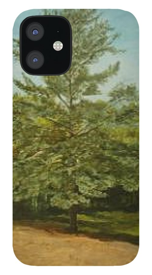 Pine Tree IPhone 12 Case featuring the painting White Lake by Leah Tomaino