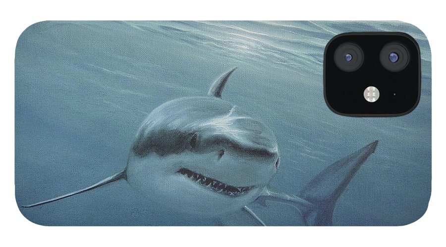 Shark IPhone 12 Case featuring the painting White Shark by Angel Ortiz