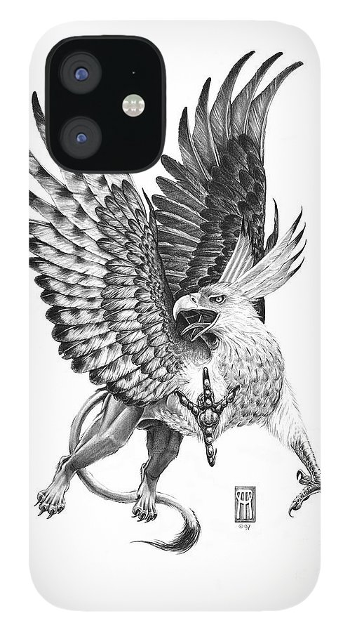 Mythology iPhone 12 Case featuring the drawing Whitehead Griffin by Melissa A Benson