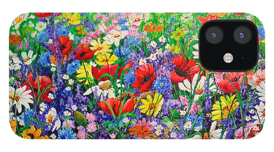 Wild Flowers IPhone 12 Case featuring the painting Wild Flower Meadow by Karin Dawn Kelshall- Best