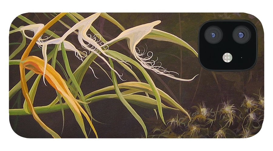 Caribbean IPhone 12 Case featuring the painting Wild Orchids by Hunter Jay