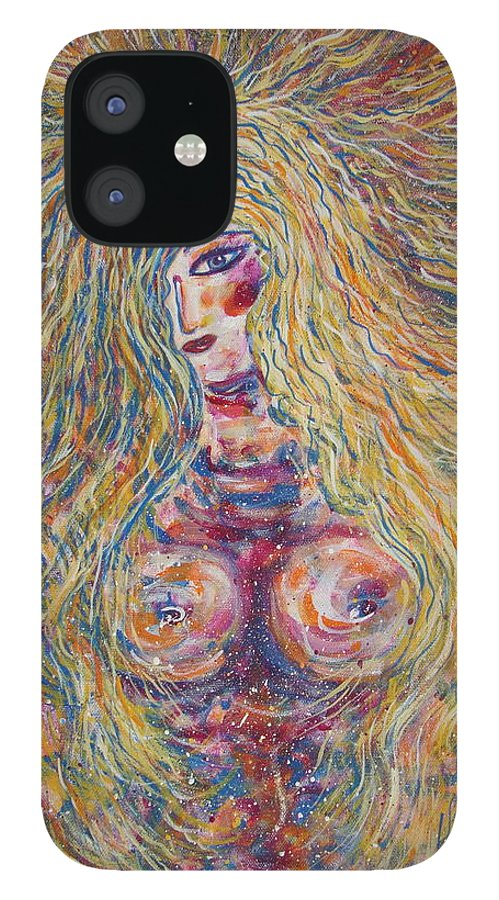 Nude IPhone 12 Case featuring the painting Wild Passion by Natalie Holland