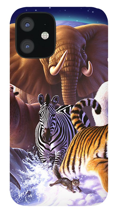 Mammals IPhone 12 Case featuring the painting Wild World by Jerry LoFaro