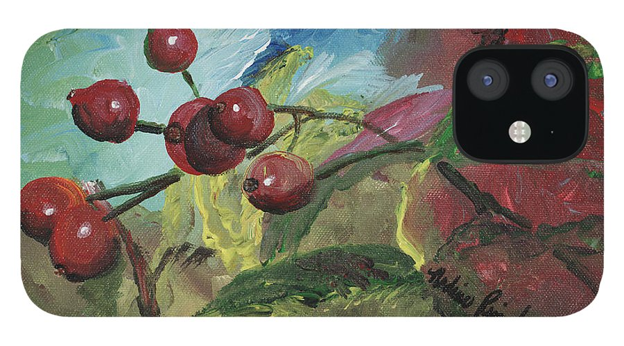 Berries IPhone 12 Case featuring the painting Winter Berries by Nadine Rippelmeyer