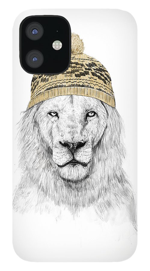 Lion IPhone 12 Case featuring the mixed media Winter is coming by Balazs Solti