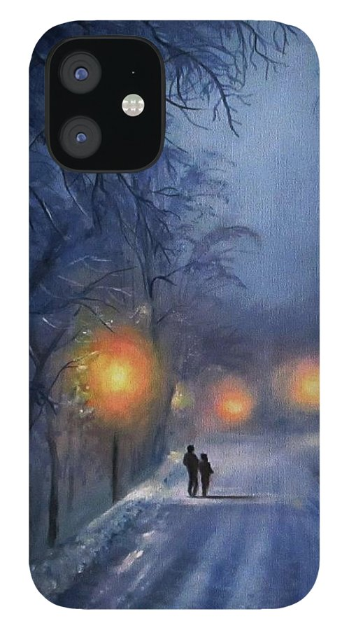 Winter Night iPhone 12 Case featuring the painting Winter lights by Natalja Picugina