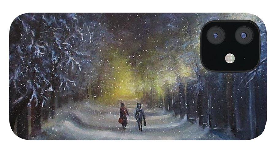 Night Lights iPhone 12 Case featuring the painting Winter night walk by Natalja Picugina