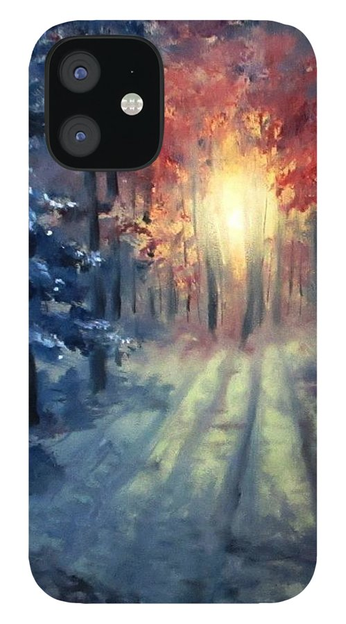 Sunset iPhone 12 Case featuring the painting Winter sunset by Natalja Picugina