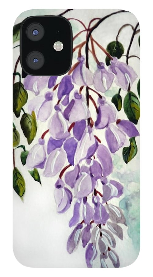 Floral Paintings Flower Paintings Wisteria Paintings Botanical Paintings Flower Purple Paintings Greeting Card Paintings  IPhone 12 Case featuring the painting Wisteria by Karin Dawn Kelshall- Best