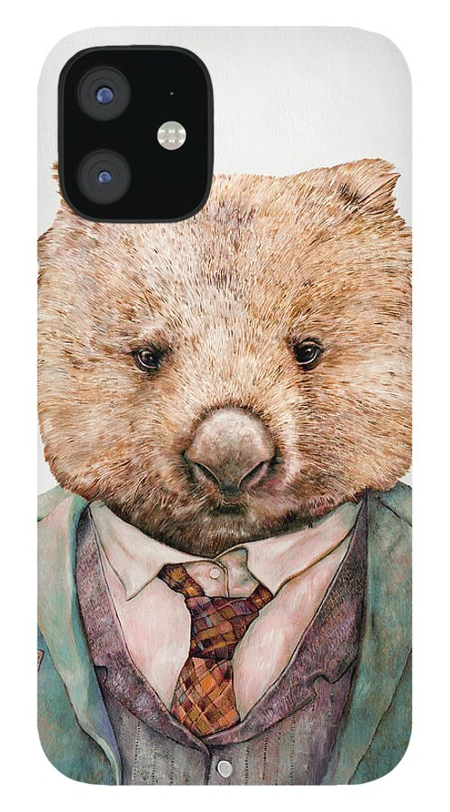 Wombat IPhone 12 Case featuring the painting Wombat by Animal Crew