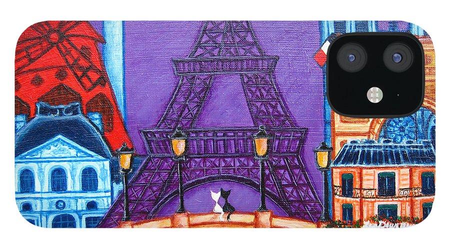 Paris IPhone 12 Case featuring the painting Wonders of Paris by Lisa Lorenz