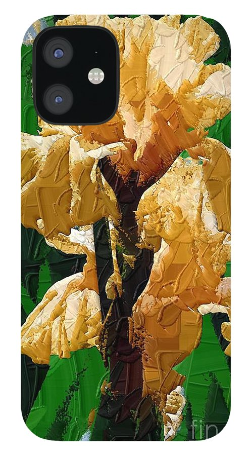 Diane Berry IPhone 12 Case featuring the painting Yellow Iris by Diane E Berry