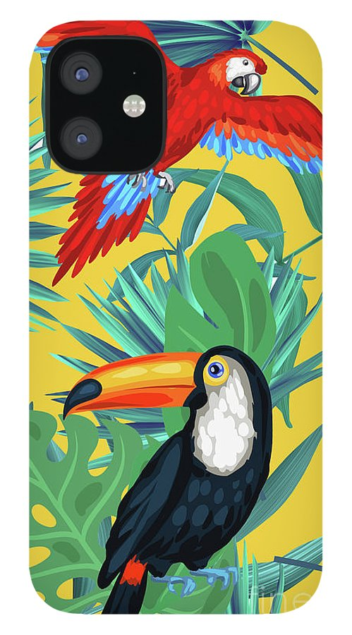 Parrot IPhone 12 Case featuring the digital art Yellow Tropic by Mark Ashkenazi
