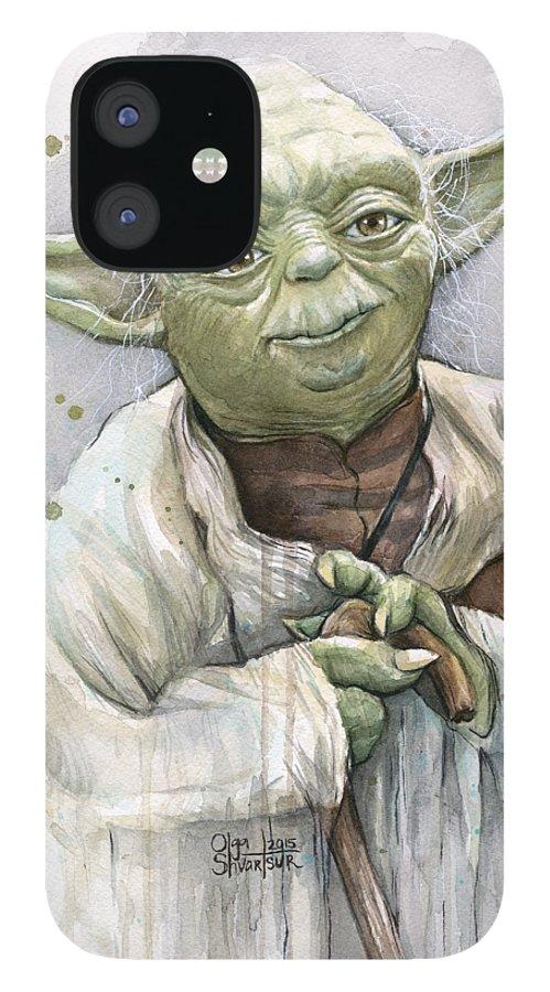 Yoda IPhone 12 Case featuring the painting Yoda by Olga Shvartsur