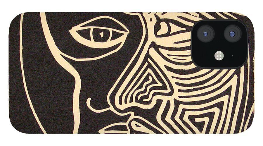 Faces IPhone 12 Case featuring the drawing You and Me by Rollin Kocsis