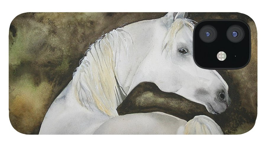 Horse IPhone 12 Case featuring the painting You Talking To Me by Jean Blackmer
