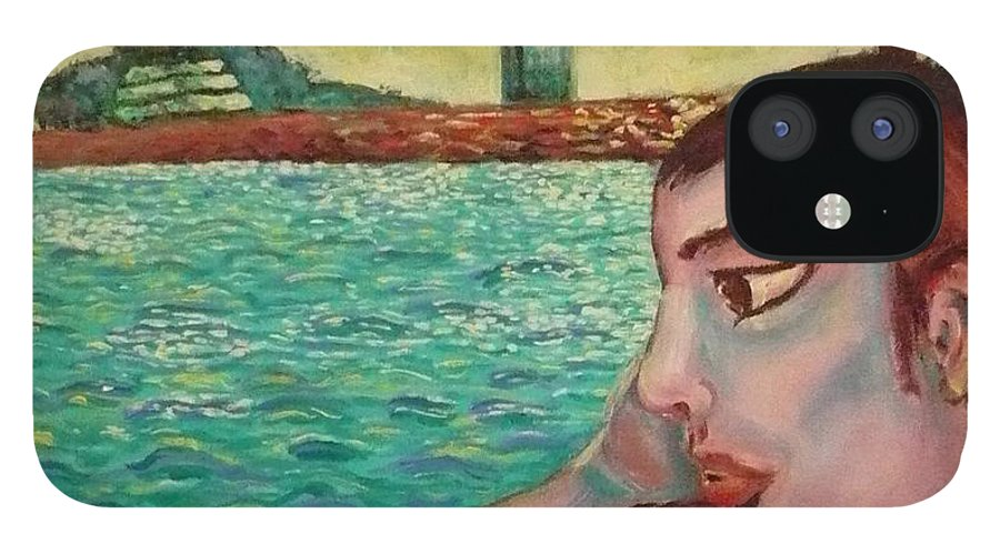 Window IPhone 12 Case featuring the painting Young Man In A Window by Ericka Herazo