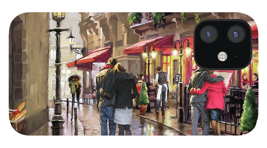 Nighttime Cafe IPhone 12 Case featuring the mixed media 0835 Night Time Cafe by The Macneil Studio