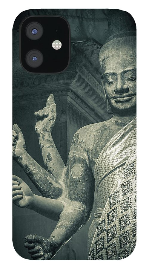 Statue IPhone 12 Case featuring the photograph Angkor Wat by Www.sergiodiaz.net