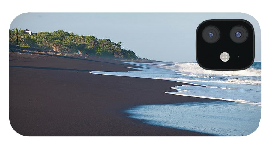 Long IPhone 12 Case featuring the photograph Black Sand Beach by Davorlovincic
