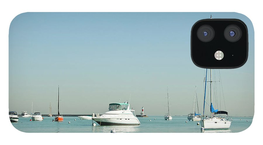 Billabong IPhone 12 Case featuring the photograph Boats On Lake Michigan by Weible1980
