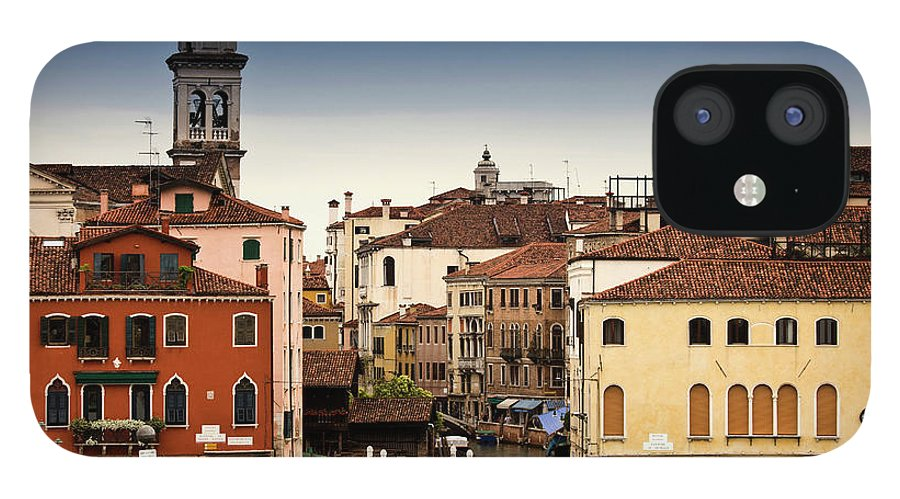 Veneto IPhone 12 Case featuring the photograph Buildings And Bridge On Urban Canal by Walter Zerla
