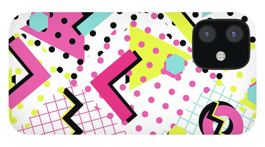 1980-1989 IPhone 12 Case featuring the digital art Colorful Abstract 80s Style Seamless by Alex bond