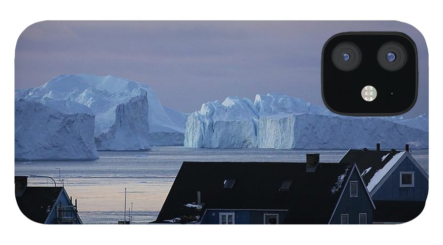 Iceberg IPhone 12 Case featuring the photograph Colourful Houses And Blue Icebergs In by Timothy Allen