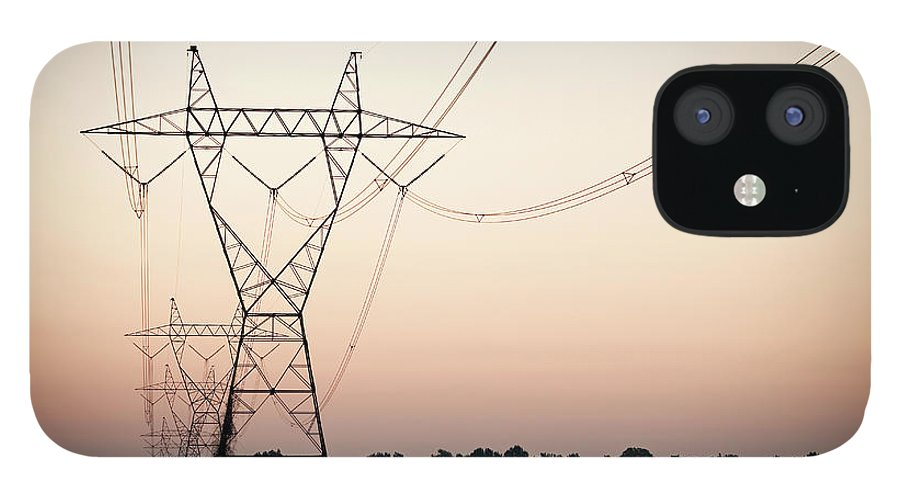 Tranquility IPhone 12 Case featuring the photograph Electrical Power Lines Against The by Wesley Hitt