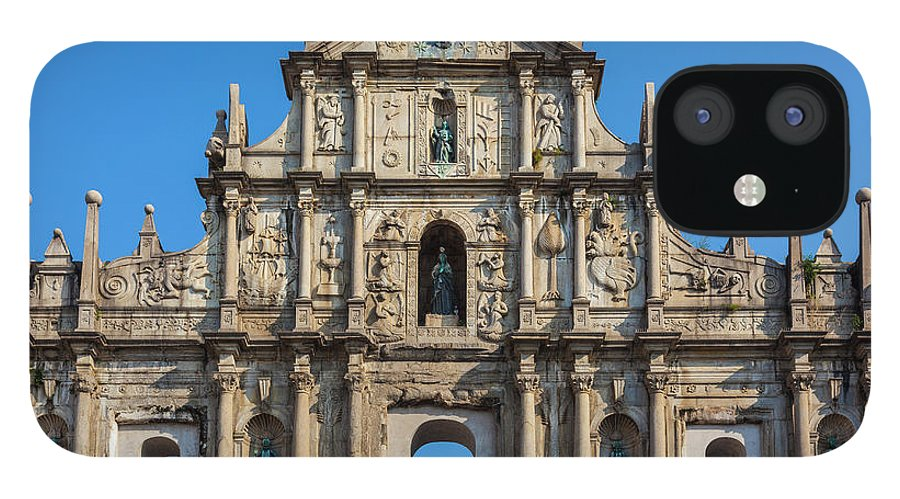 Chinese Culture iPhone 12 Case featuring the photograph Facade Of St. Pauls Cathedrail, Macau by Stuart Dee