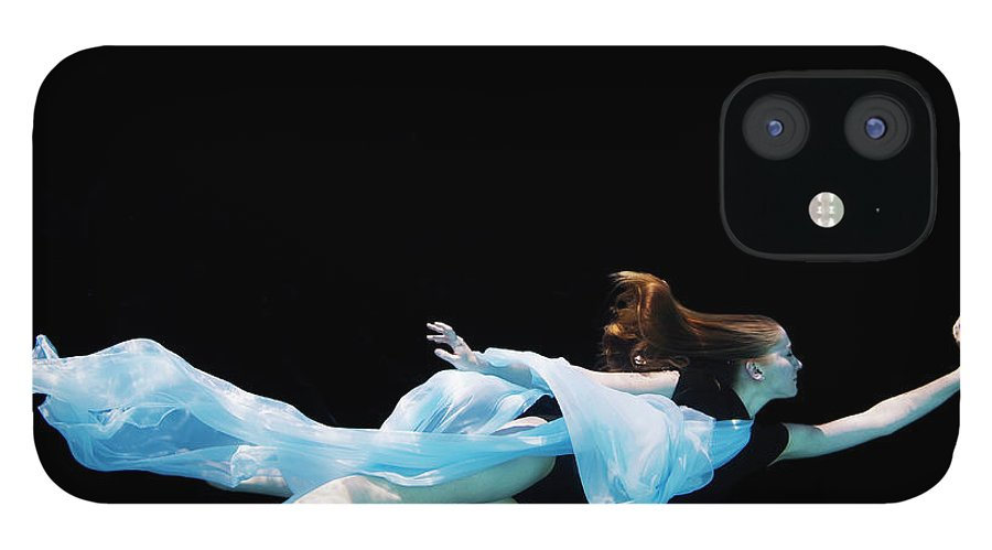 Ballet Dancer iPhone 12 Case featuring the photograph Female Dancer Underwater Against Black by Thomas Barwick