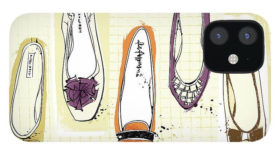 Purple IPhone 12 Case featuring the digital art Feminine Shoes by Eastnine Inc.