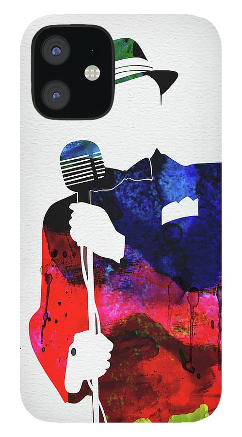 Frank Sinatra IPhone 12 Case featuring the mixed media Frank Watercolor by Naxart Studio