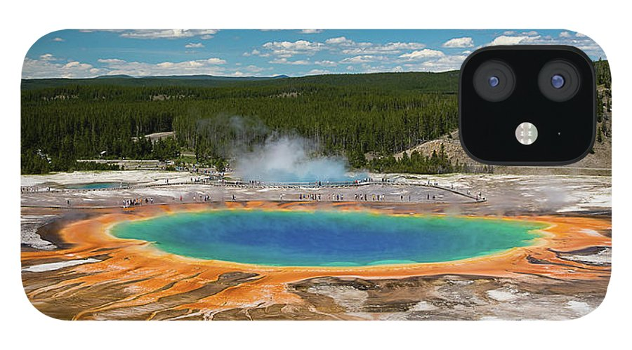 Panoramic IPhone 12 Case featuring the photograph Grand Prismatic Spring by By Sathish Jothikumar