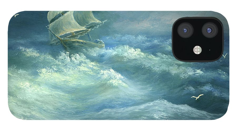 Curve IPhone 12 Case featuring the digital art Heavy Gale by Pobytov
