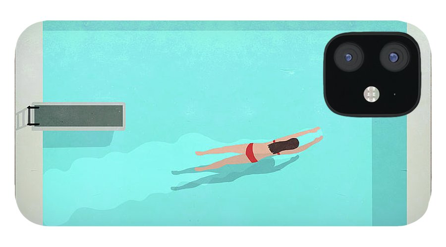 Recreational Pursuit IPhone 12 Case featuring the digital art Illustration Of Woman Swimming In Pool by Malte Mueller