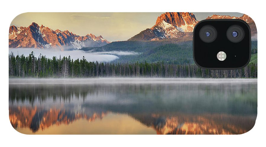 Scenics IPhone 12 Case featuring the photograph Little Redfish Lake, Sawtooth Mountains by Alan Majchrowicz
