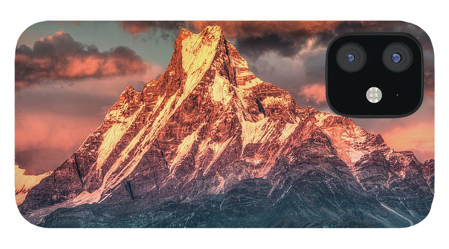 Tranquility IPhone 12 Case featuring the photograph Machapuchare Mountain, Fish Tail In by Emad Aljumah