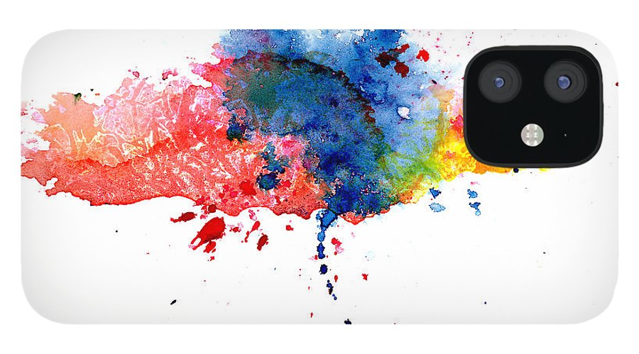 Watercolor Painting IPhone 12 Case featuring the photograph Multicolored Splashes by Alenchi