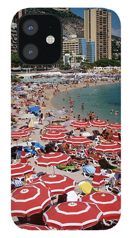 Shadow IPhone 12 Case featuring the photograph Overhead Of Red Sun Umbrellas At by Dallas Stribley