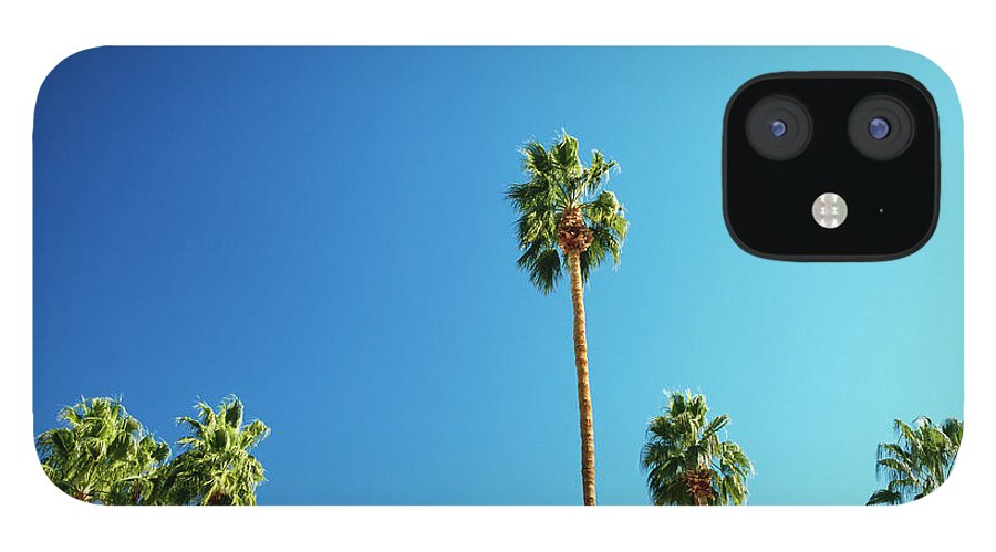 Clear Sky IPhone 12 Case featuring the photograph Palm Trees Against Blue Sky by Micha Pawlitzki