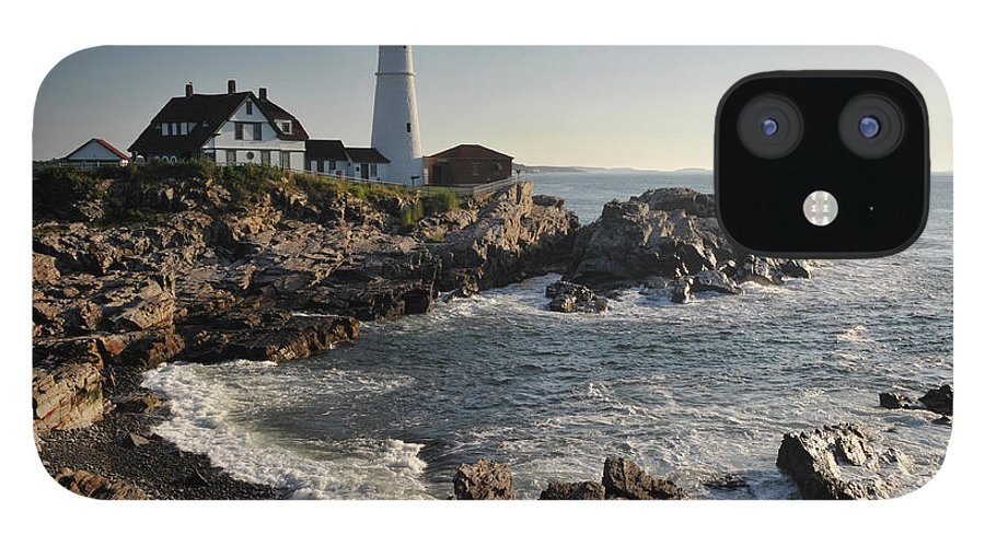 Water's Edge IPhone 12 Case featuring the photograph Portland Head Light by Aimintang