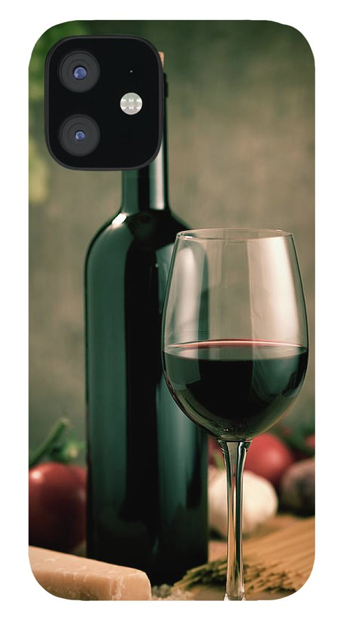Cheese IPhone 12 Case featuring the photograph Red Wine And Food, Italian Style by Kontrast-fotodesign