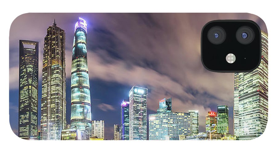 Panoramic IPhone 12 Case featuring the photograph Shanghai Skyline by Junyyeung