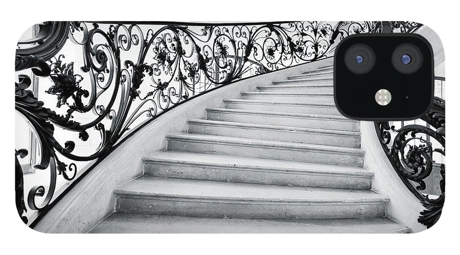 Steps IPhone 12 Case featuring the photograph Staircase In Paris by Nikada