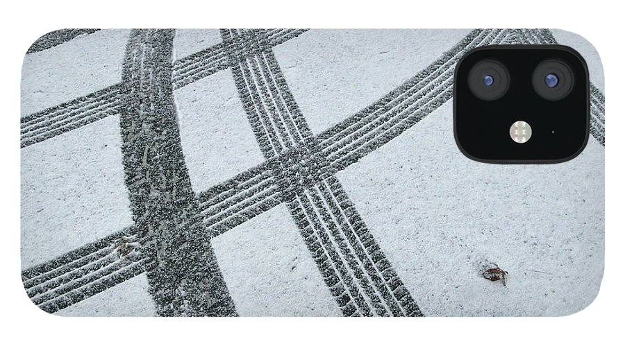 Black Color IPhone 12 Case featuring the photograph Tire Tracks In Snow, Winter by Jerry Whaley