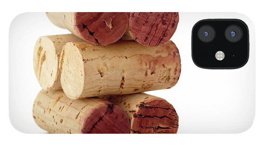 White Background IPhone 12 Case featuring the photograph Wine Corks Serie Of 28 Images by Luso