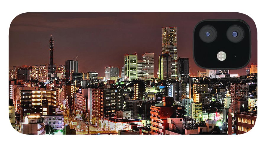 Tranquility IPhone 12 Case featuring the photograph Yokohama Nightscape by Copyright Artem Vorobiev
