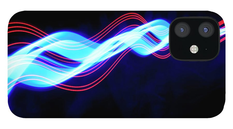 Black Background iPhone 12 Case featuring the photograph Abstract Light Trails And Streams by John Rensten